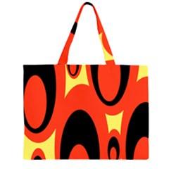 Circle Eye Black Red Yellow Large Tote Bag