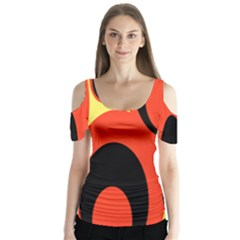 Circle Eye Black Red Yellow Butterfly Sleeve Cutout Tee