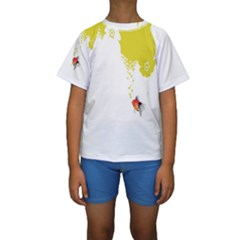 Fish Underwater Yellow White Kids  Short Sleeve Swimwear