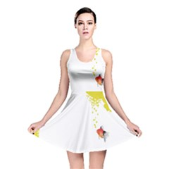 Fish Underwater Yellow White Reversible Skater Dress