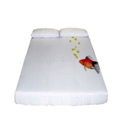 Fish Underwater Yellow White Fitted Sheet (full/ Double Size)