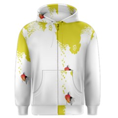 Fish Underwater Yellow White Men s Zipper Hoodie