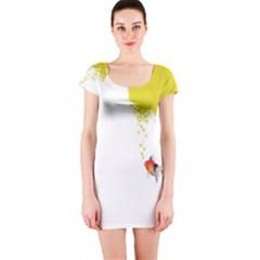 Fish Underwater Yellow White Short Sleeve Bodycon Dress