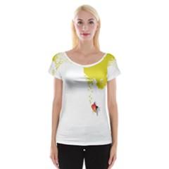 Fish Underwater Yellow White Women s Cap Sleeve Top