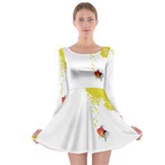 Fish Underwater Yellow White Long Sleeve Skater Dress