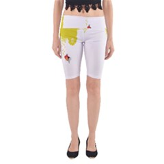 Fish Underwater Yellow White Yoga Cropped Leggings