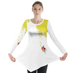 Fish Underwater Yellow White Long Sleeve Tunic
