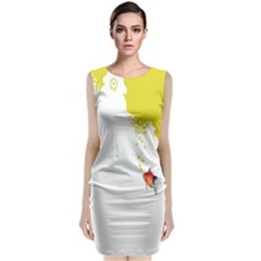 Fish Underwater Yellow White Classic Sleeveless Midi Dress