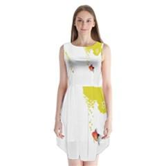Fish Underwater Yellow White Sleeveless Chiffon Dress