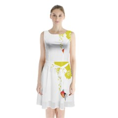 Fish Underwater Yellow White Sleeveless Chiffon Waist Tie Dress