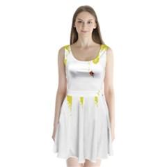 Fish Underwater Yellow White Split Back Mini Dress