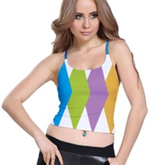 Chevron Wave Triangle Plaid Blue Green Purple Orange Rainbow Spaghetti Strap Bra Top