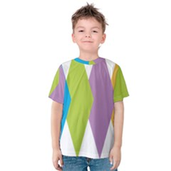 Chevron Wave Triangle Plaid Blue Green Purple Orange Rainbow Kids  Cotton Tee