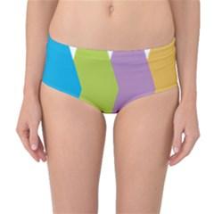Chevron Wave Triangle Plaid Blue Green Purple Orange Rainbow Mid-Waist Bikini Bottoms