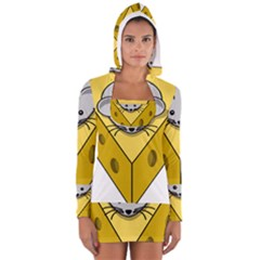 Cheese Mose Yellow Grey Women s Long Sleeve Hooded T-shirt