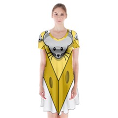 Cheese Mose Yellow Grey Short Sleeve V-neck Flare Dress