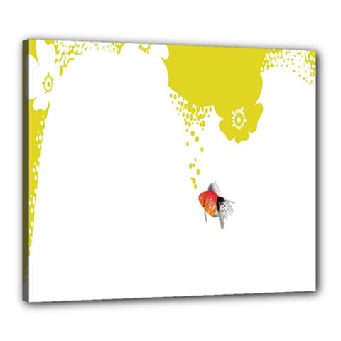 Fish Underwater Yellow White Canvas 24  x 20