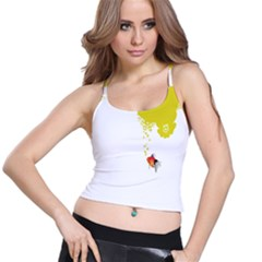 Fish Underwater Yellow White Spaghetti Strap Bra Top