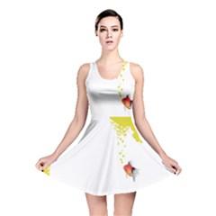 Fish Underwater Yellow White Reversible Skater Dress