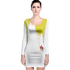 Fish Underwater Yellow White Long Sleeve Bodycon Dress