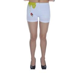 Fish Underwater Yellow White Skinny Shorts
