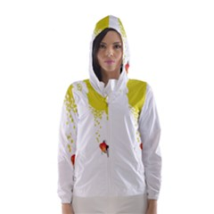 Fish Underwater Yellow White Hooded Wind Breaker (Women)