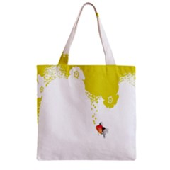 Fish Underwater Yellow White Zipper Grocery Tote Bag
