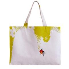Fish Underwater Yellow White Zipper Mini Tote Bag
