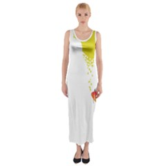 Fish Underwater Yellow White Fitted Maxi Dress