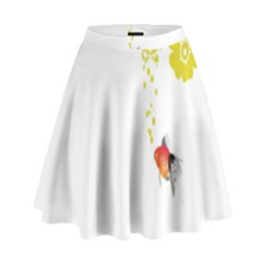 Fish Underwater Yellow White High Waist Skirt