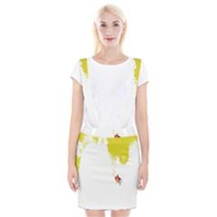 Fish Underwater Yellow White Suspender Skirt