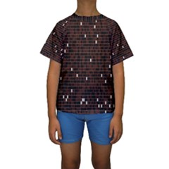 Cubes Small Background Kids  Short Sleeve Swimwear