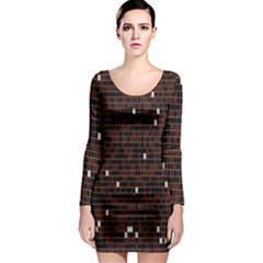 Cubes Small Background Long Sleeve Bodycon Dress