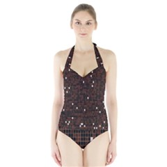 Cubes Small Background Halter Swimsuit
