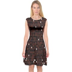 Cubes Small Background Capsleeve Midi Dress