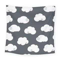 Cloud White Gray Sky Square Tapestry (large)