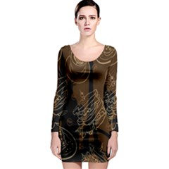 Coffe Break Cake Brown Sweet Original Long Sleeve Bodycon Dress