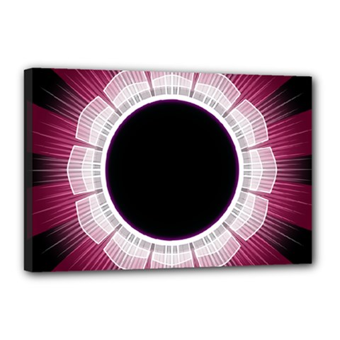Circle Border Hole Black Red White Space Canvas 18  x 12