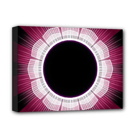 Circle Border Hole Black Red White Space Deluxe Canvas 16  x 12