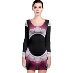 Circle Border Hole Black Red White Space Long Sleeve Bodycon Dress