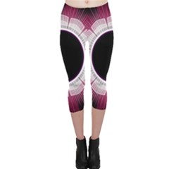 Circle Border Hole Black Red White Space Capri Leggings