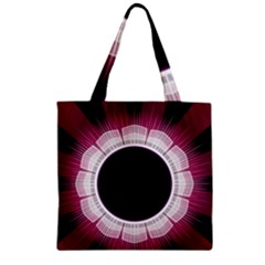 Circle Border Hole Black Red White Space Zipper Grocery Tote Bag