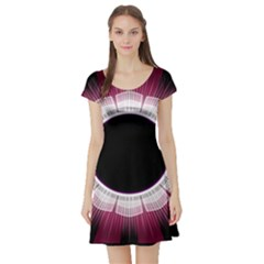 Circle Border Hole Black Red White Space Short Sleeve Skater Dress
