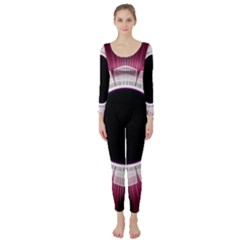 Circle Border Hole Black Red White Space Long Sleeve Catsuit