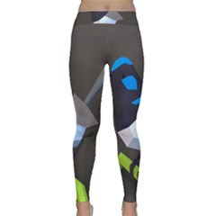 Animals Bird Green Ngray Black White Blue Classic Yoga Leggings