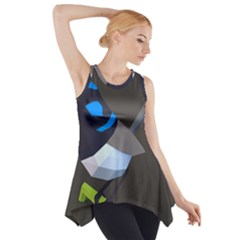 Animals Bird Green Ngray Black White Blue Side Drop Tank Tunic