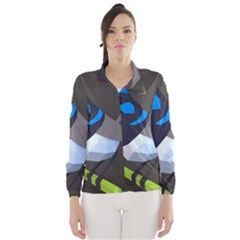 Animals Bird Green Ngray Black White Blue Wind Breaker (Women)