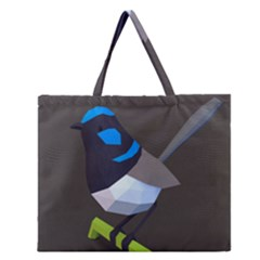 Animals Bird Green Ngray Black White Blue Zipper Large Tote Bag