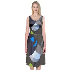 Animals Bird Green Ngray Black White Blue Midi Sleeveless Dress