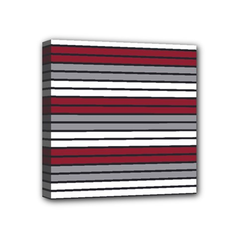 Fabric Line Red Grey White Wave Mini Canvas 4  x 4